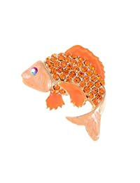 Alilang Japanese Koi Fish Carp Golden Tone Enamel Crystal Rhinestone Ocean Animal Lapel Pin Brooch