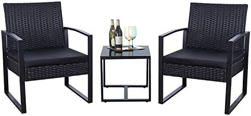 Flamaker 3 Pieces Patio Set Outdoor Wicker Patio Furniture Sets Modern Bistro Set Rattan Chair Conversation Sets with Coffee Table for Yard and Bistro (Black)