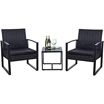 Flamaker 3 Pieces Patio Set Outdoor Wicker Patio Furniture Sets Modern Bistro Set Rattan Chair Conversation Sets with Coffee Table for Yard and Bistro ...