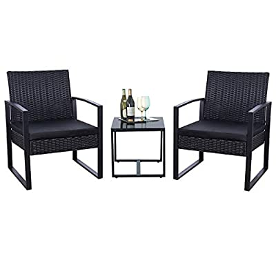 Flamaker 3 Pieces Patio Set Outdoor Wicker Patio Furniture Sets Modern Bistro Set Rattan Chair Conversation Sets with Coffee Table for Yard and Bistro (Black) - 【Simple & Practical】 Closed armrest and leg design makes the chair simple but modern and no need to worry about the rattan falling off when they are used after a long time. 【Sturdy & Durable】The powder coated steel frame are rust-proof and high-quality hand woven weather-resistant PE wicker won't fade.Each seat supports up to 250 pounds. 【Upgraded Comfort】The wide and deep chairs cushioned by very soft padded seat cushions will make you forget your fatigue and enjoy your leisure time completely. - patio-furniture, patio, conversation-sets - 4111XGLWl L. SS400  -