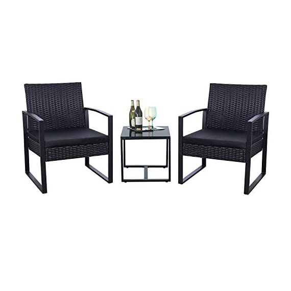 Flamaker 3 Pieces Patio Set Outdoor Wicker Patio Furniture Sets Modern Bistro Set Rattan Chair Conversation Sets with Coffee Table for Yard and Bistro (Black) - 【Simple & Practical】 Closed armrest and leg design makes the chair simple but modern and no need to worry about the rattan falling off when they are used after a long time. 【Sturdy & Durable】The powder coated steel frame are rust-proof and high-quality hand woven weather-resistant PE wicker won't fade.Each seat supports up to 250 pounds. 【Upgraded Comfort】The wide and deep chairs cushioned by very soft padded seat cushions will make you forget your fatigue and enjoy your leisure time completely. - patio-furniture, patio, conversation-sets - 4111XGLWl L. SS570  -