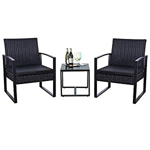 Surprising Flamaker 3 Pieces Patio Set Outdoor Wicker Patio Furniture Sets Modern Bistro Set Rattan Chair Conversation Sets With Coffee Table For Yard And Bistro Caraccident5 Cool Chair Designs And Ideas Caraccident5Info