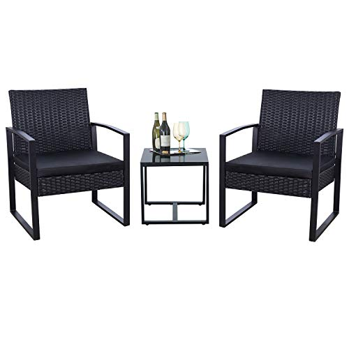 Flamaker 3 Pieces Patio Set Outdoor Wicker Patio Furniture Sets Modern Bistro Set Rattan Chair Conversation Sets with Coffee Table for Yard and Bistro (Black) (Furniture Porch Used)