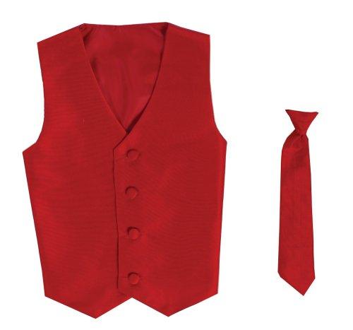 - Vest and Clip On Boy Necktie set - RED - 12/14