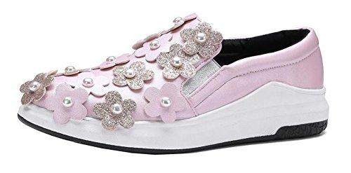 Showhow Womens Chique Bloemen Kraal Elastische Ronde Neus Lage Top Slip Op Middenhak Platform Mode Sneakers Roze