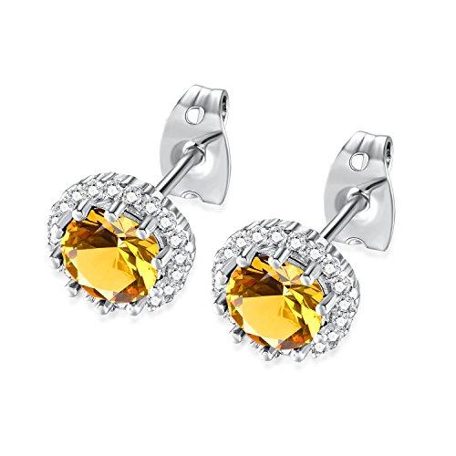 November Birthstone Earrings (Birthstone Stud Earrings, Copper Plated Cubic Zirconia Earrings for Women Citrine/November Herinos)