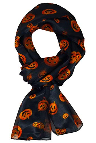 Crown Halloween Pumpkin Bat Scarf Loop Infinity Scarf with Gift Box (1752-BK)]()