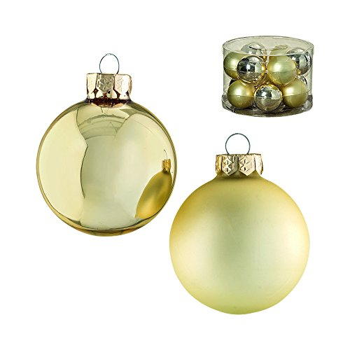 The Holiday Home Luxe Champagne Balls Ornament Collection,12 Pack, Christmas Decorations, Shine and Matte Finish, Hanger Top, Glass, Each Ball is 2 1/4 Diameter, By Whole House Worlds -