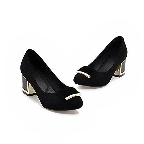 Chaussures Légeres Femme Dépolissement Talon Rond Correct AgooLar à Noir Tire x8qwOnFdS0