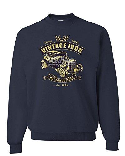 Vintage Iron Hot Rod Customs Sweatshirt Retro Muscle Car Route 66 Sweater Navy Blue L