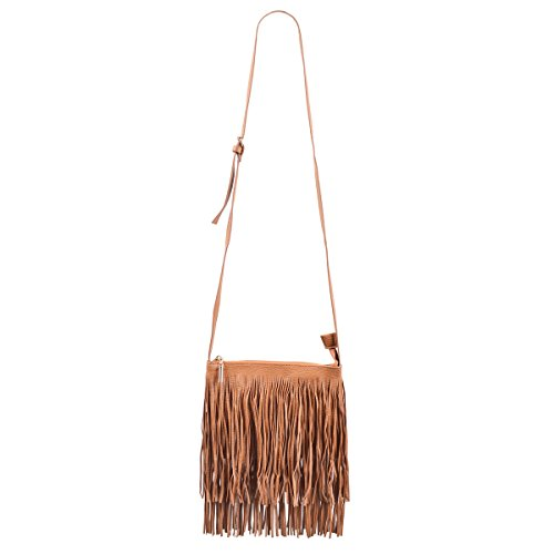 (Premium Textured PU Leather Layered Fringe Tassel Crossbody Shoulder Bag, Camel)