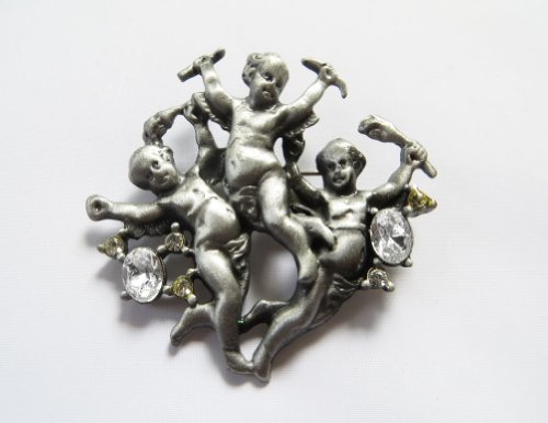 Danecraft Silver - Plated Cherub Angels Pin (Cherub Pin Brooch)