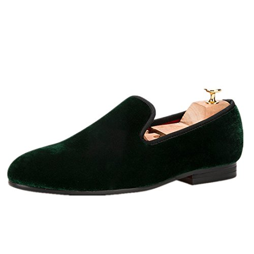 Flats Loafers Dress HI amp;HANN Male Shoes Colorful Shoes Men Dark Men Slippers Velvet Men's Green Casual Smoking qRHzIYHw