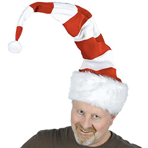 amscan Long Striped Felt and Plush Santa Hat | Christmas Accessory