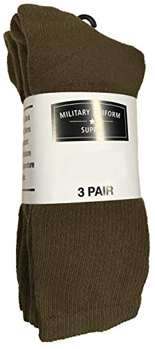 Military Style Men's Anti-Microbial Boot Socks - COYOTE BROWN - 3 PAIR LARGE