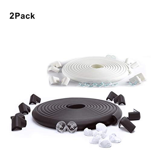 SafeBaby & Child Safety 23.2ft Set. 16 Corners Guards Baby proofing Edge. Clear Protective Bumpers for Furniture. Cushion Foam Strip Brick pad childproof Fireplace Guard for Toddlers.White Black by SafeBaby & Child (Image #10)