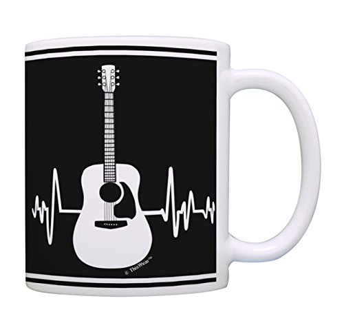 Music Lovers Gifts Acoustic Guitar Heartbeat Mug Music Teacher Mug Music Themed Gift for Women Music Related Gifts Rock Gifts for Men Gift Coffee Mug Tea Cup Black & White