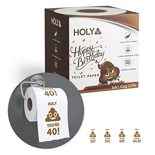 40th Birthday Gag Gift Ideas (bA1 Gag Gifts - Happy 40th Birthday Toilet Paper - Funny Prank, Decoration, or Gift Idea - Ultra Soft, Strong 'n Sturdy - 3)