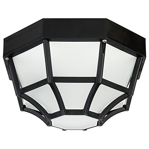 (Sunlite 47238-SU DOD/OC/BK/FR/MED Decorative Outdoor Octagonal Collection Polycarbonate Fixture, Black Finish, Frosted Lens)