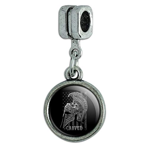 GRAPHICS & MORE Carved Molon Labe USA American Flag Spartan Helmet 2nd Amendment Italian European Style Bracelet Charm Bead