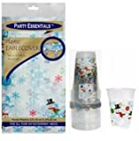 Party Essentials Heavy Duty Printed Plastic Table Cover 54 x 108 and Matching Soft 16oz Cups; Bundled by Oasis Mercantile (1, Snowman)