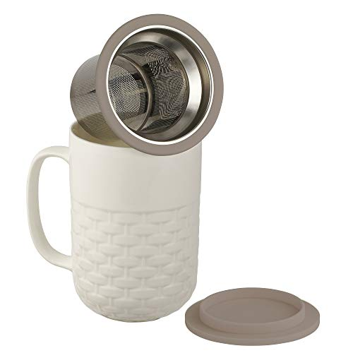 (casaWare 15-Ounce Weave Textured New Bone China White Tea Infuser Mug with Lid/Coaster (Gray)