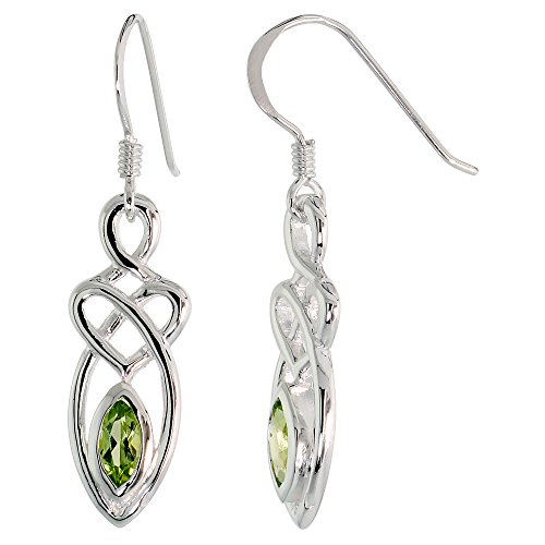 Sterling Silver Peridot Celtic Motherhood Knot Earrings Dangling Fishhook Flawless Finish, 1 1/4 inch (Celtic Peridot Knot)