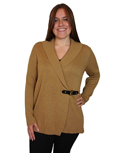 Charter Club Womens Plus Ribbed Long Sleeves Cardigan Sweater Brown 0X ()