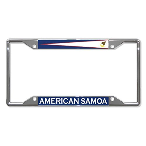 License Plate Frame American Samoa Flag Country Chrome Tag Holder Four Holes