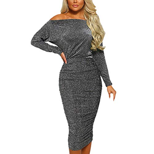 Todaies Women Sparkly Long Sleeve Off Shoulder Evening Party Club Ruched Bodycon Dress (XL, Gray)