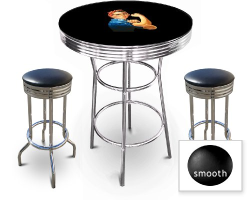 New Rosie The Riveter Themed Chrome Metal Bar Table Set with Black or White top and includes 2 stools with your choice of seat cushion vinyl color.