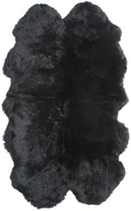 Home Style 4 Piece Natural Sheepskin Rug, Black