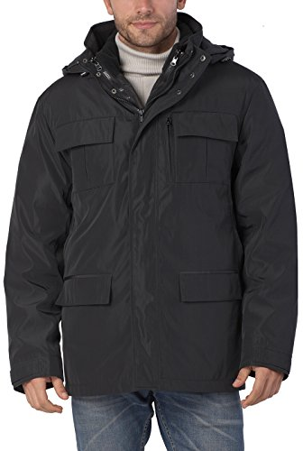 BGSD Men's Peter 3-in-1 Waterproof Hooded Down Parka Coat - L Black (Best Winter Coats Canada Men)