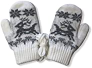 Warm Winter Thermal Knitted Acrylic Mittens with Rope for Children Boys and Girls (White, 2 to 4)