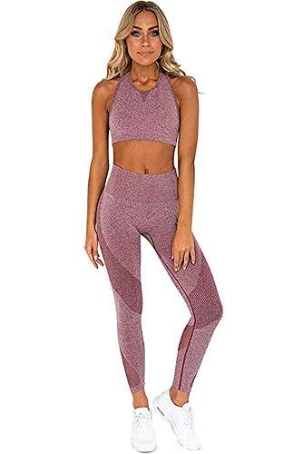 Ducomi Gin Damen Fitness Anzug - Sport Leggings und Top Set für Fitness, Yoga, Jogging und Sport - Komplette Sportbekleidung Leggins Hohe Taille und Top Crop Support und Komfort