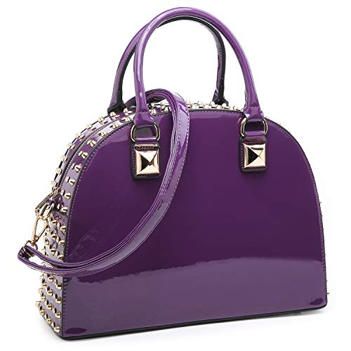 Dasein Patent Leather Handbag Domed Satchel Bag Rhinstone Structured Shoulder Bag Designer Purse (2858-purple)