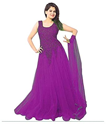 IndiaSeller Fashion Purple Color Net Gown: Amazon.in: Clothing ...