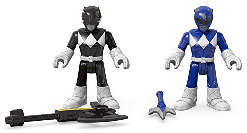 Fisher-Price Imaginext Power Rangers Blue Ranger & Black Ranger Figures (Blue Power)