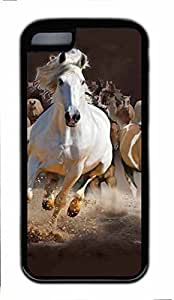 Black Case,Fashion Cool Art Horse Custom Protective Soft TPU Back Case Cover for iphone 5C