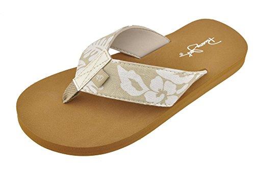 Panama Jack Ladies Hibiscus Low Wedge Comfort Wide Band Sandal, Size 6 to 11 Tan-Beige ()