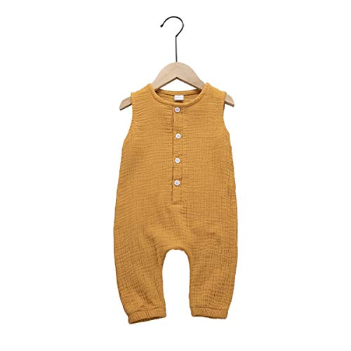 (Haokaini - Baby Girls Boys Sleeveless Linen Jumpsuit, Casual Buttons Romper, Playsuit for Infant Toddler (Yellow, 3M-6M))