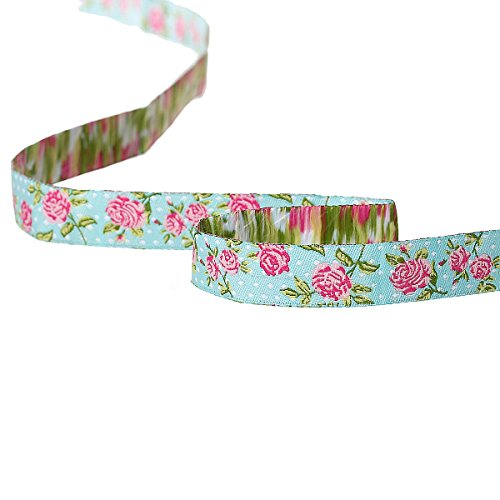 PEPPERLONELY 2 Yards Pink Roses Floral Printed Embroidered Woven Label Ribbon 16mm (5/8 Inch)