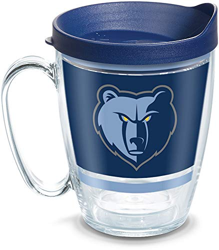 Tervis 1309318 NBA Memphis Grizzlies Legend Insulated Tumbler with Wrap and Navy Lid, 16oz Mug, Clear ()