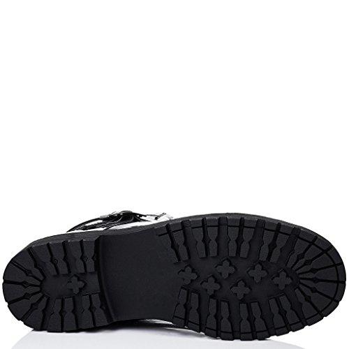 SPYLOVEBUY DICE Mujer Cordone Planos Botes Bajas Zapatos Negro - Patent