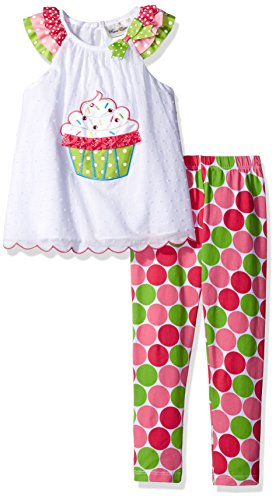 Girls Rare Editions (Rare Editions Little Girls' Cupcake Legging Set, White/Multi, 6X)