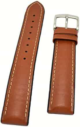 HIRSCH PERFORMANCE JAMES SHORT GOLD BROWN LEATHER & RUBBER WATCH BAND 20MM