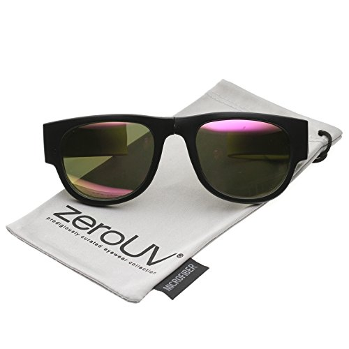 zeroUV - Portable Rubber Snap Arms Square Mirror Lens Foldable Horn Rimmed Sunglasses 53mm (Black-Yellow / Magenta - Sunglasses Slapsee