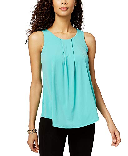 Charter Club Pleated Crew-Neck Shell (Acadia Green, L)