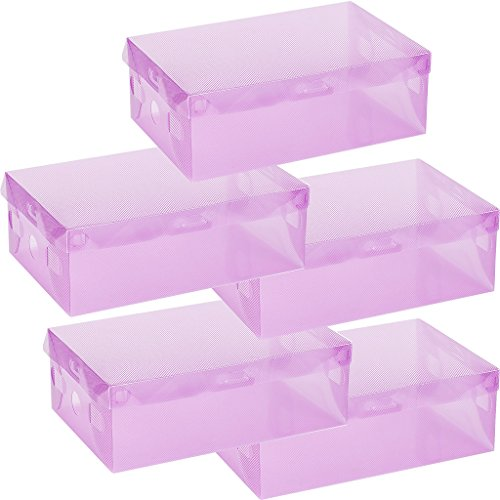 Swaroser 5 Pack PP Transparen Foldable Oganizer Boxes Stuff Box Shoes Box 5 PC Per Pack Purple 28x18x10cm