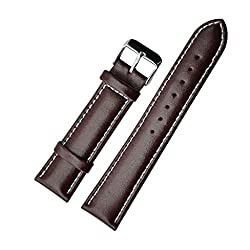Replacement Silver Buckle Genuine Calfskin Leather Watch Strap/Watch Band (18mm)